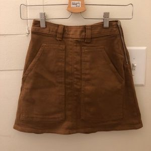 Aritzia Wilfred Free Mini Skirt Denim Brown 00